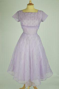 1950s Vintage Prom Dress Lilac Nylon with Diamante Detail | Mela Mela Vintage