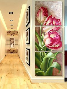 Blooming Flower Print Unframed Split Canvas Paintings They are beautiful, lovable and affordable. You deserve it! Wall Art For Sale, Wall Art Sets, Blooming Flowers, Flower Prints, Flower Art, Pix Art, Tulip Painting, Abstract Geometric Art, Arte Floral