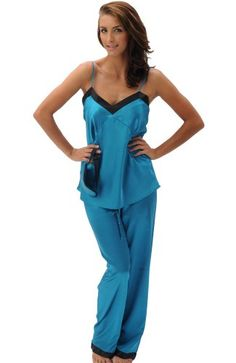 Women's Satin Cami Tank Pajama Set with Pants and Sleep Mask,Teal by Alexander Del Rossa