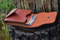 Leather Wallet-Men Wallet-Leather Card Holder Leather-Handmade Terracotta.