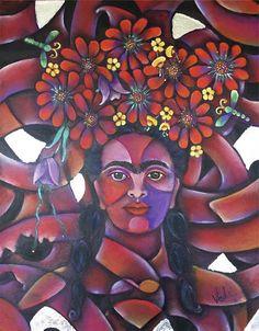 Frida con trenzas Acrílico con hoja de plata
