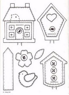 birdhouse template this is a pay pattern Applique Templates, Applique Patterns, Owl Templates, Felt Patterns, Craft Patterns, Wool Applique, Applique Quilts, Felt Crafts, Fabric Crafts