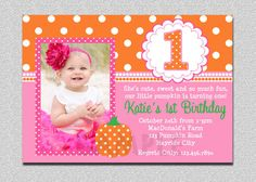 Hey, I found this really awesome Etsy listing at http://www.etsy.com/listing/105881163/pumpkin-birthday-invitation-pumpkin-1st