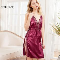 ce525fabd2b COLROVIE 2018 Summer Sleeveless Plain Nightgowns Burgundy Contrast Lace  Criss Cross Back Split Dress Women Sexy Sleepwear