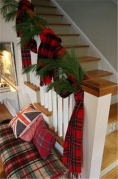 Plaid is back in a big way this season. When mixed with other patterns with a unifying color palette, it looks festive!