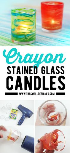 Make your own glass votives in minutes using crayons and glass candleholders. Oh and don't forget the hair dryer! Diy Crayons, Candleholders, Activity Days, Hair Dryer, Don't Forget, Stained Glass, Diy Projects, Candles, Crafts