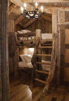 Log bunk bed