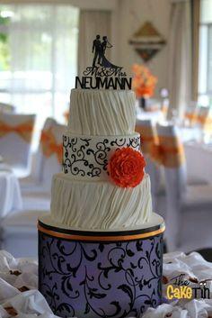 Orange peony wedding cake