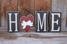 HOME blocks with a heart home decor wooden lettering by invinyl, $14.99