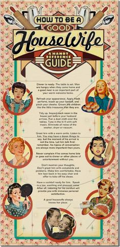How to Be A Good Housewife - Humor Wall Art from RetroGiftIdeas.com
