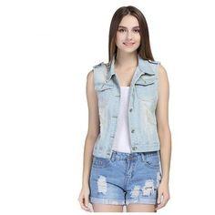 Women Denim Vest via Polyvore featuring outerwear, vests, pattern vest, vest waistcoat, denim waistcoat and denim vests