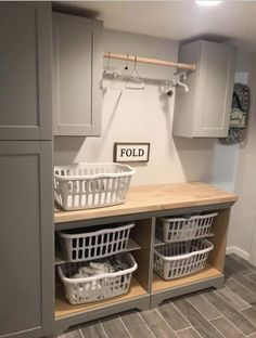 Laundry Basket Shelves, Laundry Basket Dresser, Laundry Basket Organization, Mudroom Laundry Room, Laundry Room Remodel, Farmhouse Laundry Room, Laundry Room Design, Laundry In Bathroom, Bathroom Vanities