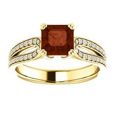 10kt Yellow Gold 6mm Center Asscher Garnet and 70 Accent Genuine Diamonds Engagement Ring...(ST122274:1381:P).! Price: $699.99 #diamonds #ring #gold #garnetring #fashionring #jewelry