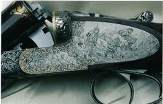 Bruno Casetto .fr Moyen-Age : oeuvre de Bruno Casetto pour le titre de graveur Meilleur Ouvrier de France à scènes en gravure taille-douce avec bordures d'acanthes sur fond or, coquilles ciselées sur fond d'or incrusté sur un fusil équipé par Jean Luquet - 1986 -