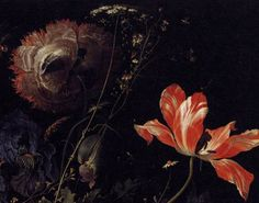 Detail from: A Still Life of Tulips and Other Flowers.  Jacob Marrel  1681, Oil on Canvas