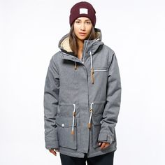 CLWR Colour Wear Up Parka Women's Snowboard Jacket, S, Grey Melange