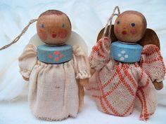 Vintage Weihnachtsdeko - Christbaumschmuck vintage 2 Engel - ein Designerstück von Ulla-bellecose bei DaWanda