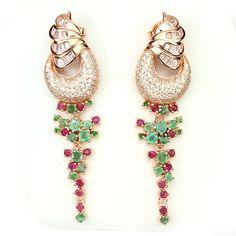 Lavish Tapering Rose Gold Plated Emerald, Tsavorite Garnet, & Ruby Earrings.