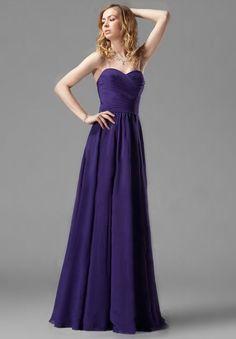 Chiffon Strapless Sweetheart A-line Long Bridesmaid Dress - Bridesmaid - WHITEAZALEA.com