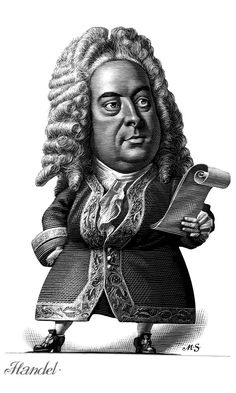 Handel  -  Caricature Engravings of Composers by Mark Summers