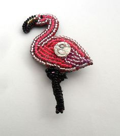 Flamingo Brooch Flamingo party Pink bead Embroidered art Crystal pin Swarovski flamingo Pink bird bead Beadwork flamingo Stylish brooch  Pink Flamingo brooch is handmade with Swarovski crystal, Czech beads.The back side is made of black leather.  The size 2.3 inches on 1.30 inches.