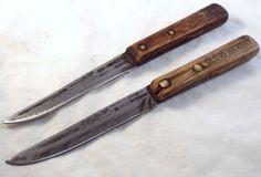 """RAZOR SHARP vtg Old Hickory LOT 2 Steak knives Carbon Steel 4"""" blade 7.5"""" handle"""