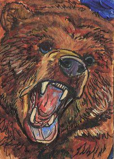 "ACEO ORIGINAL in watercolor ""grizzly bear roar"""