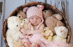 Baby Girl Hat - Baby Bear Hat Pink/Cream Tweed Teddy Bear with Earflaps & Ties - Flower Clip on Etsy, $19.99