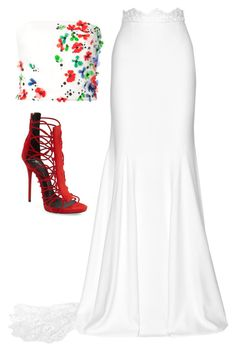 Red & White by carolineas on Polyvore featuring polyvore, fashion, style, Monique Lhuillier, Rime Arodaky, Giuseppe Zanotti and clothing