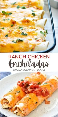 Ranch Chicken Enchiladas are flour tortillas wrapped around a shredded taco chicken center that is covered in cheese a salsa-ranch mixture.