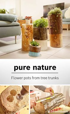 Do you love flowers but aren't keen on putting them in standard flower pots? Then take a look at our guide to making your own flower pots – out of logs. Cottage Garden Design, Diy Garden Decor, Diy Room Decor, Diy Flowers, Flower Pots, Outdoor Projects, Diy Projects, Diy Crafts For Adults, Fleurs Diy