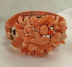 Victorian Carved Coral 14KT Gold Hinged Bangle: Cherub