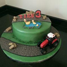 Boerderij taart cake tractor eendjes hooi
