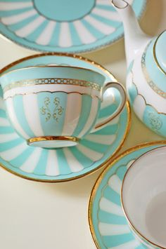 Tiffany Blue White and Gold Tea Service Teapots And Cups, China Tea Cups, Turquoise, Aqua, My Cup Of Tea, Chocolate Pots, Vintage China, Vintage Teacups, Tea Cup Saucer