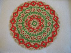 Christmas Silver Red and Green  Hand Stitched by AcadianGlassArt
