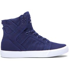 WOMENS SKYTOP D (385 BRL) ❤ liked on Polyvore featuring shoes, high top shoes, hi tops, navy shoes, synthetic shoes and white hi top shoes