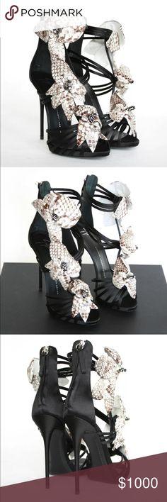 Giuseppe zannoti satin python heels Gorgeous Giuseppe zanotti satin heels with python flowers and crystal detail brand new with box small mark in sole Giuseppe Zanotti Shoes Heels