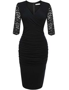 03ffb907274 online shopping for ANGVNS Women s Deep-V Neck Ruffles Floral Lace Fitted Bodycon  Evening Pencil Dress from top store. See new offer for ANGVNS Women s ...