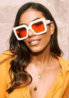 bcefa31f57 Missyempire - Margret Cream Chunky Square Sunglasses Large Frames
