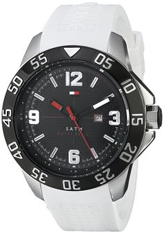 Tommy Hilfiger Men's 1790986 Cool Sport Black Ion-Plated Watch with White Strap Watch ** Continue to the product at the image link. Tommy Hilfiger Watches, Black Rubber Bands, D 40, Affordable Watches, Luxury Watches For Men, Sport Watches, Dream Watches, Black Stainless Steel