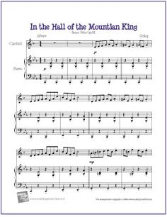 In the Hall of the Mountain King | Free Sheet Music for Clarinet - http://makingmusicfun.net/htm/f_printit_free_printable_sheet_music/in-the-hall-of-the-mountain-king-clarinet-solo.htm