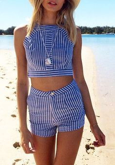 love this striped two piece!