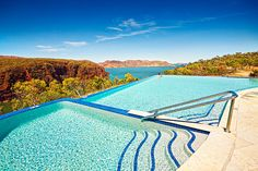 One of the most stunning pools in Australia.   Amazing view from the infinity pool to Lake Argyle, East Kimberley, Western Australia
