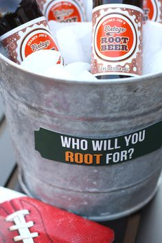 Who will you ROOT for? Root Beer!  This would be great if you had team labels on the bottles.