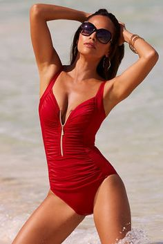 Zip front one-piece swimsuit Red Swimsuit a2724cd15