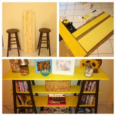 Took 2 old bar stools and went to Home Depot and had some plain boards cut to fit, painted them and created my own little book shelf :)