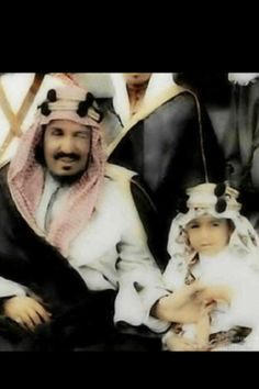 King Abdelaziz of The Kingdom of Saudi Arabia with one of his sons