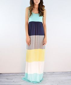 Another great find on #zulily! éloges Mint & Navy Color Block Maxi Dress by éloges #zulilyfinds