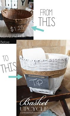 Painted Basket Upcycle :: Hometalk    Why you should NEVER overlook a thrift store basket!