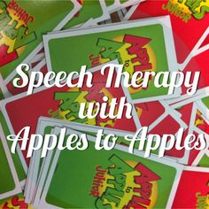 Millions of Fingerprints: Today in Speech Therapy-We Played Apples to Apples! Repinned by SOS Inc. Resources pinterest.com/sostherapy/.